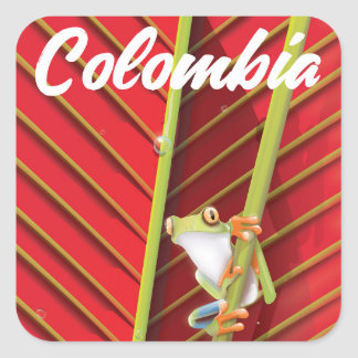 Colombia tree frog travel poster square sticker