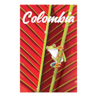Colombia tree frog travel poster stationery