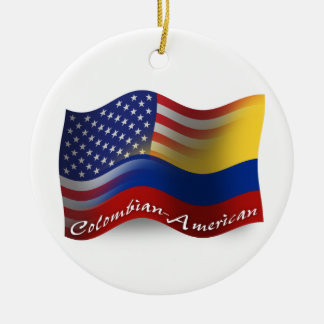 Colombian-American Waving Flag Ceramic Ornament