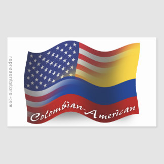Colombian-American Waving Flag Sticker