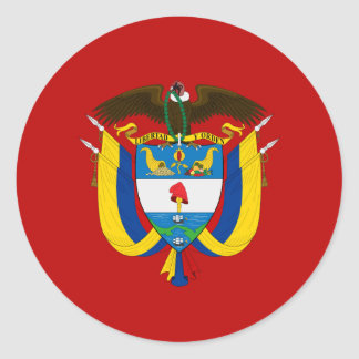 Colombian coat of arms classic round sticker