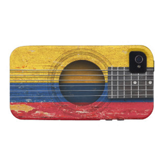 Colombian Flag on Old Acoustic Guitar iPhone 4 Case