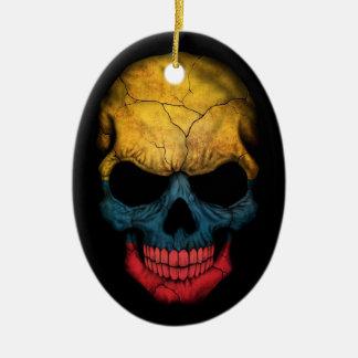 Colombian Flag Skull on Black Ceramic Oval Ornament