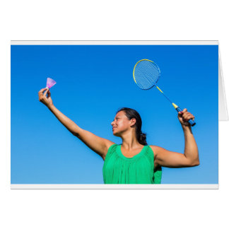 Colombian woman serve with badminton racket card