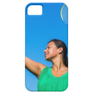 Colombian woman serve with badminton racket case for the iPhone 5