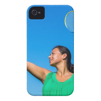 Colombian woman serve with badminton racket iPhone 4 Case-Mate cases