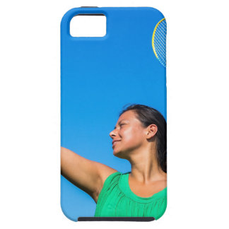 Colombian woman serve with badminton racket iPhone 5 cover