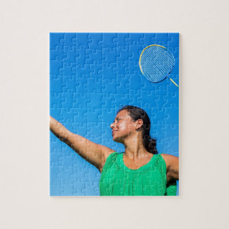 Colombian woman serve with badminton racket jigsaw puzzle