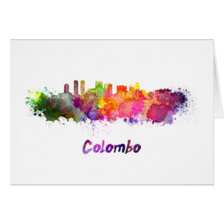 Colombo skyline in watercolor card
