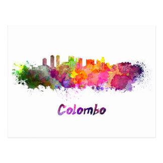 Colombo skyline in watercolor postcard
