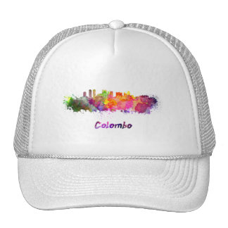 Colombo skyline in watercolor trucker hat