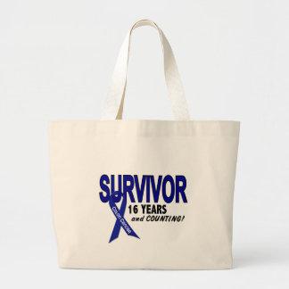 Colon Cancer 16 Year Survivor Jumbo Tote Bag