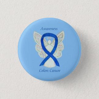 Colon Cancer Angel Blue Awareness Ribbon Art Pin