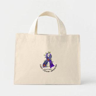 Colon Cancer Awareness FLOWER RIBBON 1 Mini Tote Bag