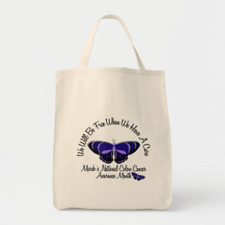 Colon Cancer Awareness Month Butterfly 1.1 Grocery Tote Bag