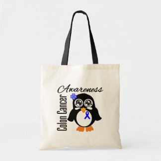 Colon Cancer Awareness Penguin Tote Bags