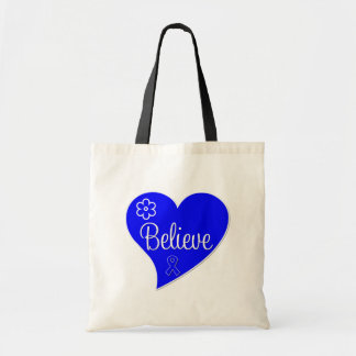 Colon Cancer Believe Heart Tote Bags