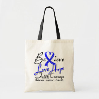 Colon Cancer Believe Heart Collage Tote Bag