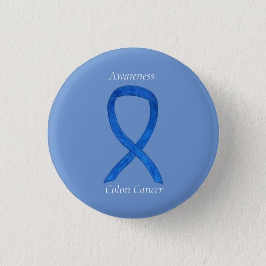 Colon Cancer Blue Awareness Ribbon Custom Art Pin Zazzle Ca