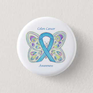 Colon Cancer Butterfly Awareness Ribbon Custom Pin