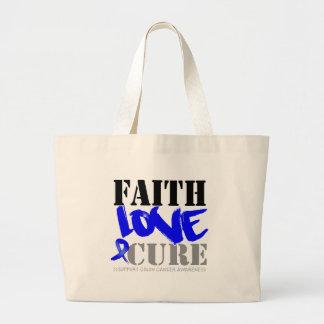 Colon Cancer Faith Love Cure Jumbo Tote Bag