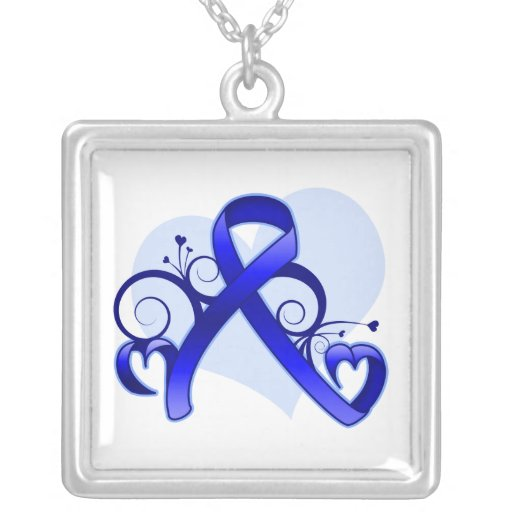 Colon Cancer Floral Heart Ribbon Jewelry
