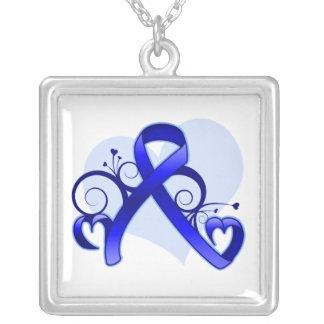 Colon Cancer Floral Heart Ribbon Square Pendant Necklace