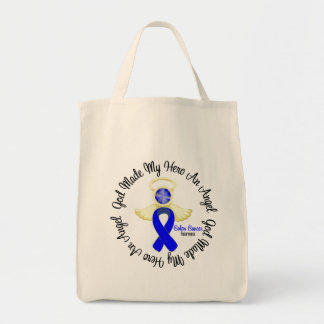 Colon Cancer God Made My Hero An Angel Grocery Tote Bag