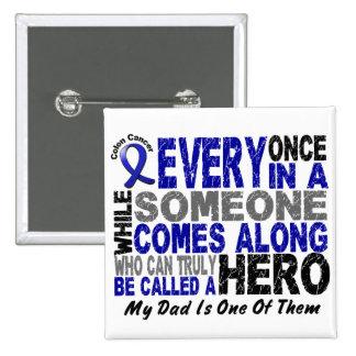 Colon Cancer HERO COMES ALONG 1 Dad 2 Inch Square Button