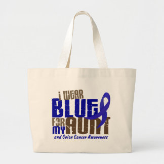 Colon Cancer I WEAR BLUE FOR MY AUNT 6.3 Large Tote Bag
