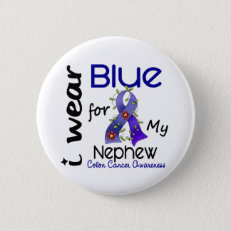 Colon Cancer I Wear Blue For My Nephew 43 2 Inch Round Button