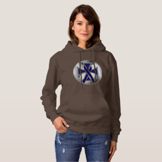 Colon Cancer Iron Cross Ladies Hoodie