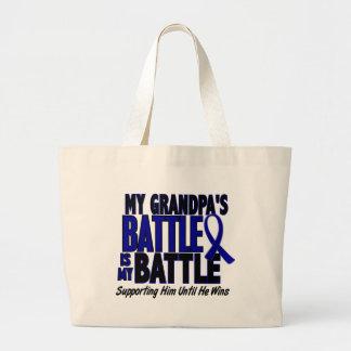 Colon Cancer MY BATTLE TOO 1 Grandpa Tote Bags