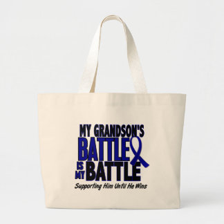 Colon Cancer MY BATTLE TOO 1 Grandson Canvas Bags