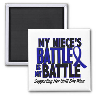 Colon Cancer MY BATTLE TOO 1 Niece Square Magnet