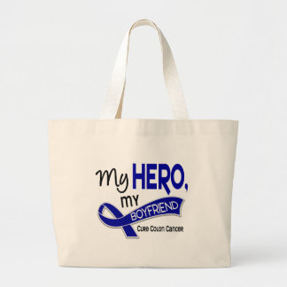 Colon Cancer MY HERO MY BOYFRIEND 42 Large Tote Bag