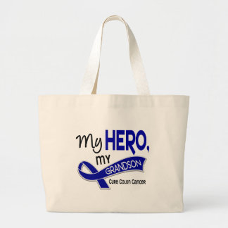 Colon Cancer MY HERO MY GRANDSON 42 Large Tote Bag