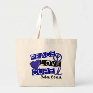 Colon Cancer PEACE LOVE CURE 1 Tote Bags