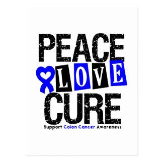 Colon Cancer Peace Love Cure Postcard