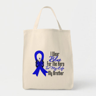 Colon Cancer Ribbon Hero My Brother Grocery Tote Bag