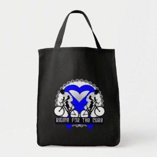 Colon Cancer Riding For The Cure Grocery Tote Bag