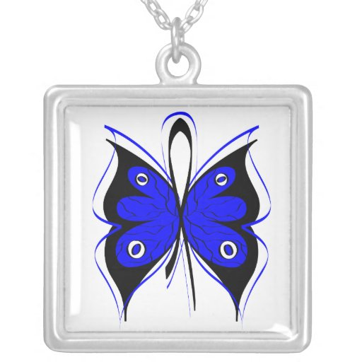 Colon Cancer Stylish Butterfly Awareness Ribbon Custom Necklace