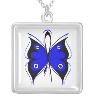 Colon Cancer Stylish Butterfly Awareness Ribbon Square Pendant Necklace
