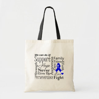 Colon Cancer Supportive Words Canvas Bags