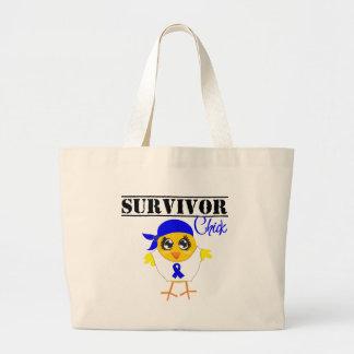 Colon Cancer Survivor Chick Canvas Bags