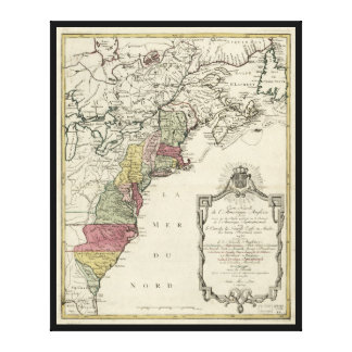Colonial America Map by Matthaus Lotter (1776) Canvas Print