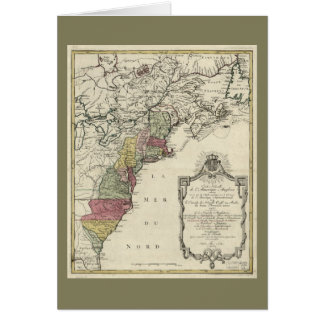 Colonial America Map by Matthaus Lotter (1776) Card