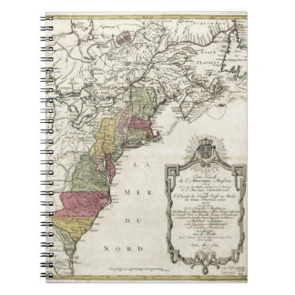Colonial America Map by Matthaus Lotter (1776) Notebook