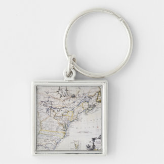 COLONIAL AMERICA: MAP, c1770 Silver-Colored Square Keychain