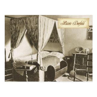 Colonial Bedroom in Historic Deerfield, MA Postcard